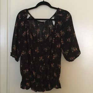 GUESS black floral top
